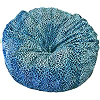 Ahh! Products - 36 Wide Washable Large Bean Bag Chair - Turquoise Cheetah Animal Print Fur Plush