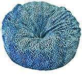 Ahh! Products - 36'' Wide Washable Large Bean Bag Chair - Turquoise Cheetah Animal Print Fur Plush