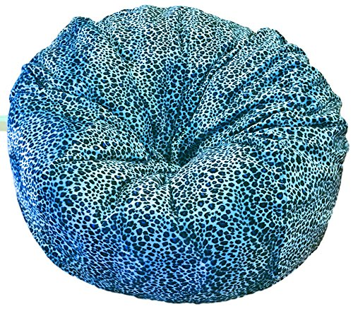 Ahh! Products - 36'' Wide Washable Large Bean Bag Chair - Turquoise Cheetah Animal Print Fur Plush by Ahh! Products