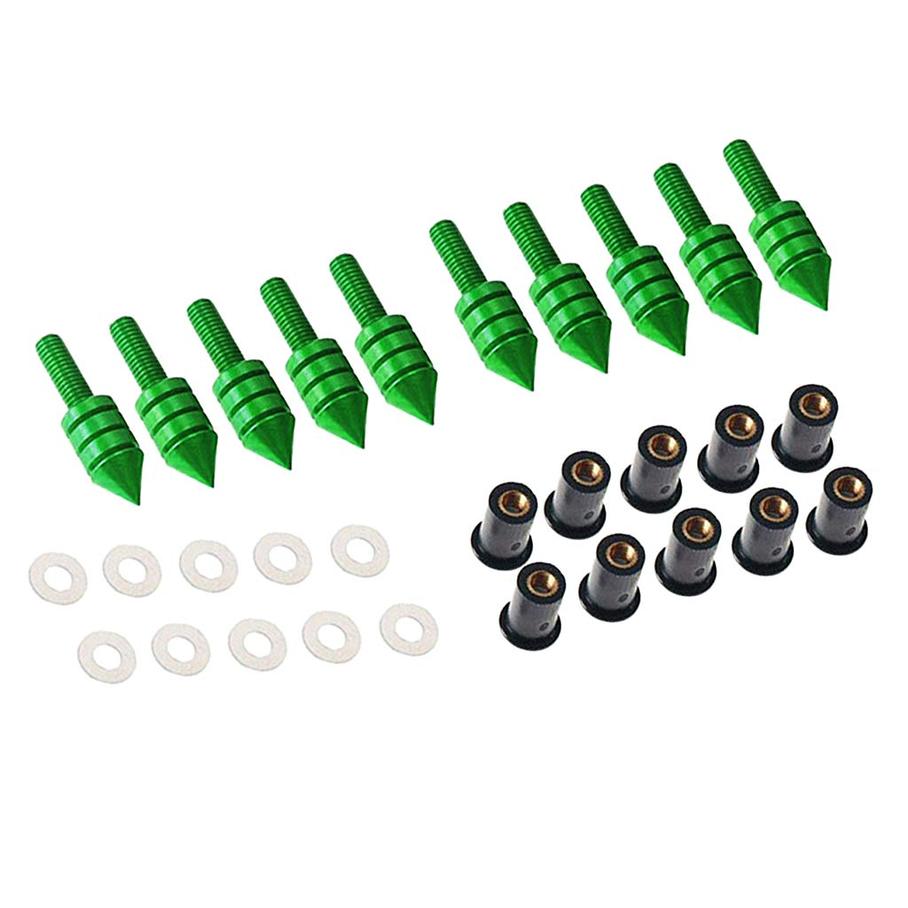 Silver MagiDeal 10 x Motorcycle Windshield Windscreen Spike Bolt Kit Well Nuts//Bolts//Washers