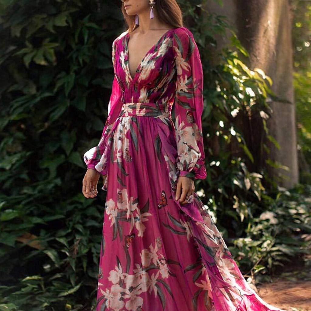 Ultramall Women Fashion Bohemian Floral Printed V Neck Long Sleeve Pleated Chiffon Dress(Hot Pink,M) by Ultramall (Image #4)