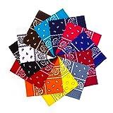 Simes Bandana, 12 Pack Bandanas for Men, Women, Novelty Headband, Rave Mask