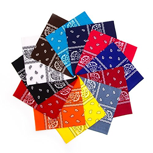 - Simes Bandana, 12 Pack Bandanas for Men, Women, Novelty Headband, Rave Mask