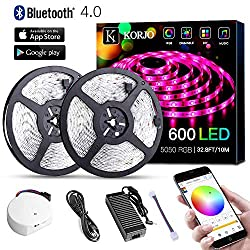 Solarphy 32 8ft 10m Led Strip Lights Bluetooth App Controlled Led Music Light Waterproof Light Strips 24v 600 Leds 5050 Rgb Multicolored Rope Light Kit Flexible Led Strip Lighting For Home Kitchen