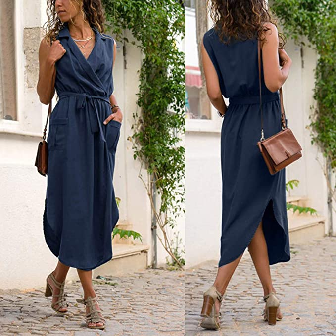 Amazon.com: WUYIMC Fashion Women Casual Sleeveless Solid Dress Cross V-Neck Pockets Belt Loose Maxi Long Dress Beach Sundress: Clothing