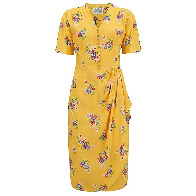 1940s Dresses and Clothing UK | 40s Shoes UK The Seamstress of Bloomsbury Mabel Dress in Mimosa by Authentic Vintage 1940s Style £79.00 AT vintagedancer.com