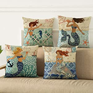 Unibedding Mermaid Outdoor Throw Pillow Covers Decorative Coastal Nautical Theme Cushion Covers for Patio Couch Christmas Decor Sets of 4 18 X 18 Inches