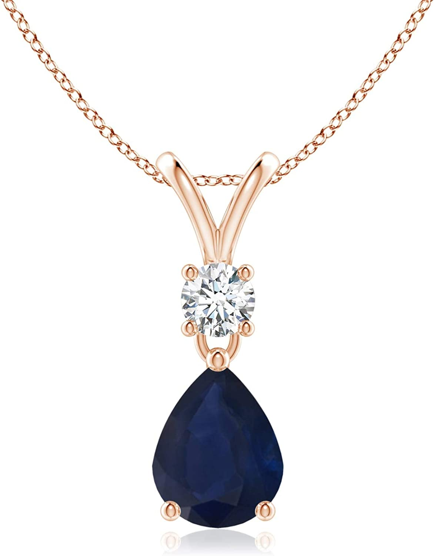 Pera zafiro azul y diamante V-bala de peluche colgante
