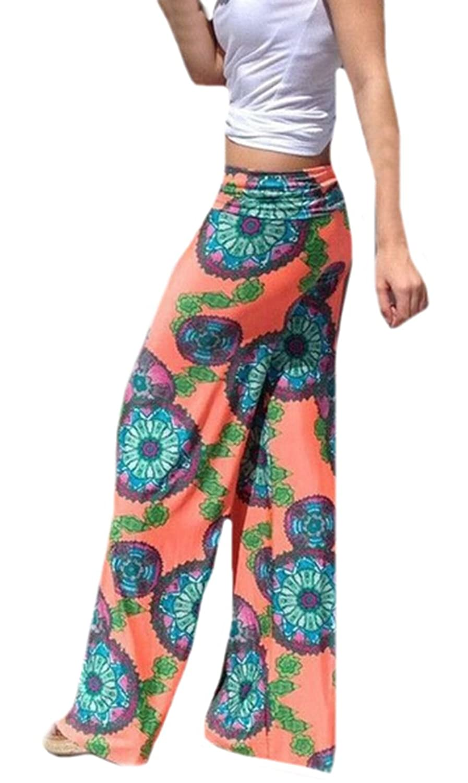 XTX Womens Casual Boho Beach Printed Orange Wide Leg Pants
