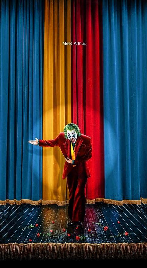 Amazon Com Handtao Joker 2019 Joaquin Phoenix Movie Fabric Cloth Wall Poster Photo Print 24x13 Inch Posters Prints