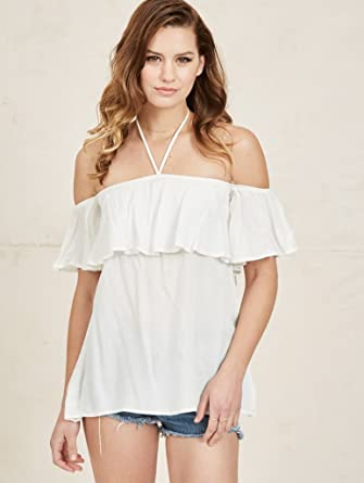 9b2c3ae72359a Image Unavailable. Image not available for. Color  NOA ELLE Womens Off The Shoulder  Linen Top