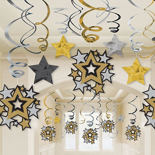 Hollywood Mega Value Pack Party Foil Swirl Hanging Decorating Kit -