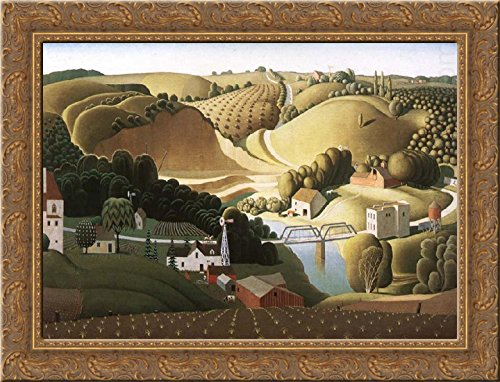 Stone city, Iowa 24x18 Gold Ornate Wood Framed Canvas Art by Grant Wood - Grant Wood Wall