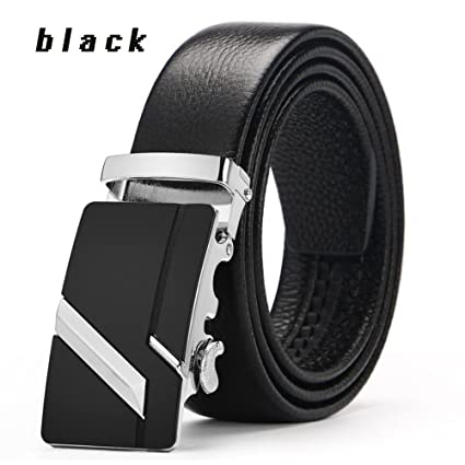 Color : B, Size : 120 XUEXUE Mens Belt,Automatic Buckle Adjustable, Casual Formal Belts,Work Active Basic Leather ,Casual Wear /& Cowboy Wear /& Work Clothes Uniforms