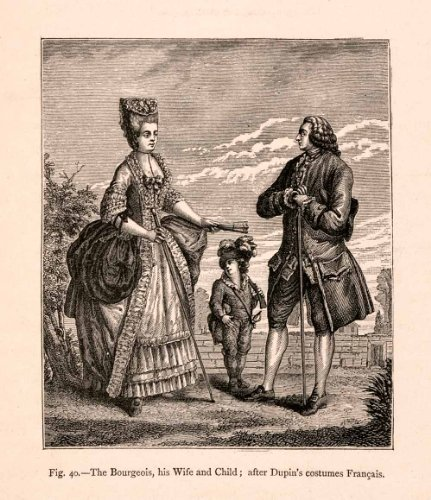 1876 Wood Engraving Bourgeois Costume Dress 18th Century French Merchant France - Original Engraving