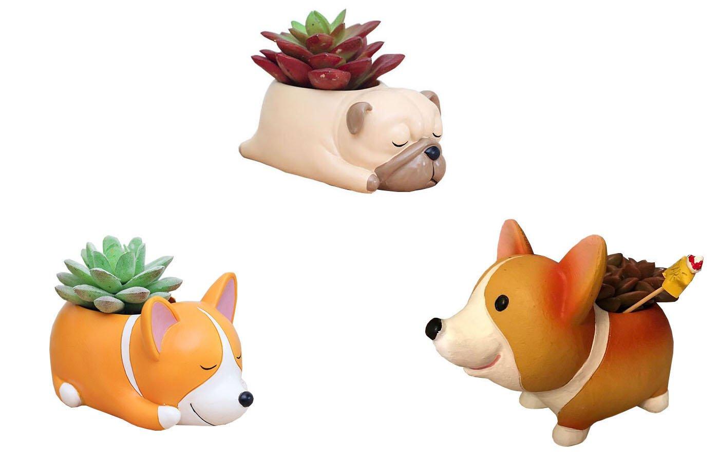 Everyday Better Life 3 PCS Set Cute Cartoon Animal Corgi Pug Shaped Succulent Cactus Vase Flower Pot for Home Garden Office Desktop Decoration (Plants Not Included)