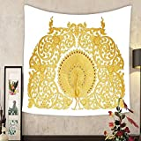 Keshia Dwete Custom tapestry ornament of gold plated vintage floral thai art style