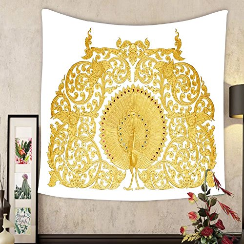 Keshia Dwete Custom tapestry ornament of gold plated vintage floral thai art style by Keshia Dwete