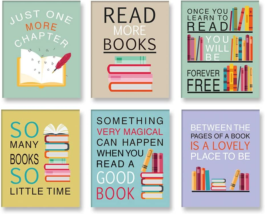 """CHDITB Colorful Wall Art Print Inspirational Read Books Quote Art,Watercolor Books Art Painting , Set of 6 Art Posters(8 """" x10 """")Motivational Saying Canvas Poster For Classroom Library Study Decor"""