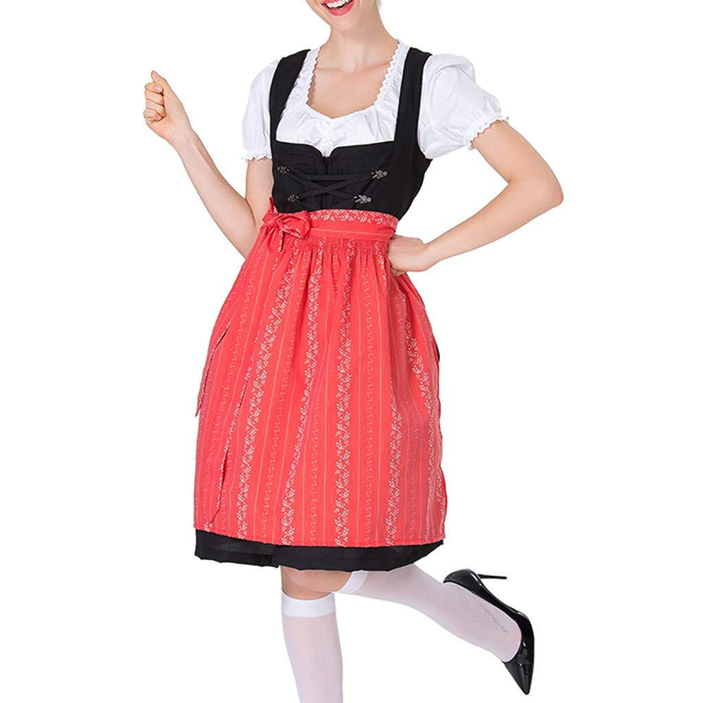 Sttech1 Women's Vintage Beer Festival Dress Square Collar Bavarian Beer Festival Cosplay Costumes Ball Gown Red