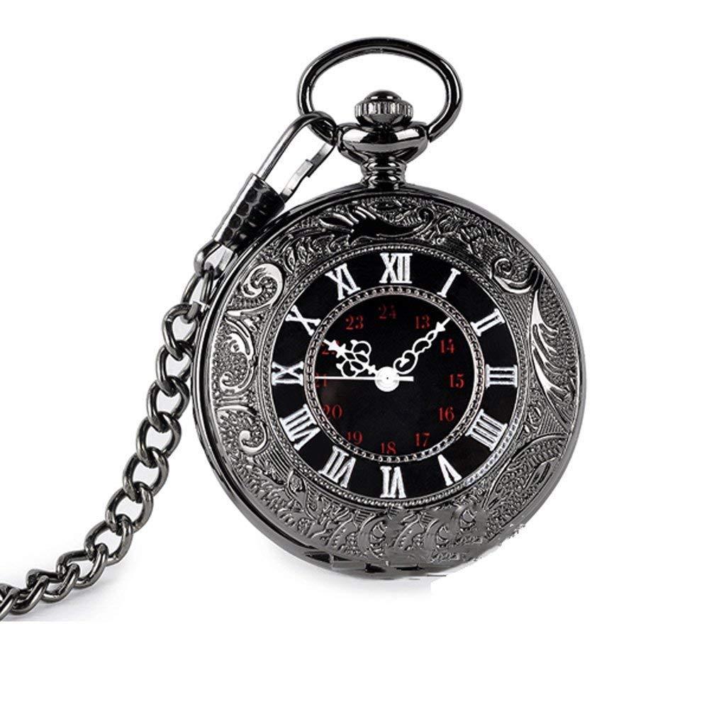 Anaw Antique Quartz Pocket Watch Roman Pattern Retro Vintage Quartz Roman Numerals Men's Pocket Watch