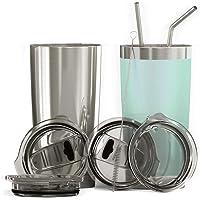 Bluepeak - Juego de vasos aislados de acero inoxidable de doble pared, paquete de 2 unidades, incluye tapas para tomar…