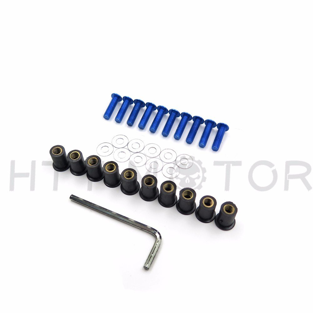 XKMT GROUP Motorcycle Blue Round Windshield Bolts Screw Nuts Kit For Honda CBR 600rr 1000rr/Suzuki GSXR 600 750 1000/Yamaha R1 R6 R6s/ Kawasaki ZX6R ZX9R ZX10R ZX12R/Ducati/BMW/H-D/KTM/Triumph XKMT-MOTORPARTS