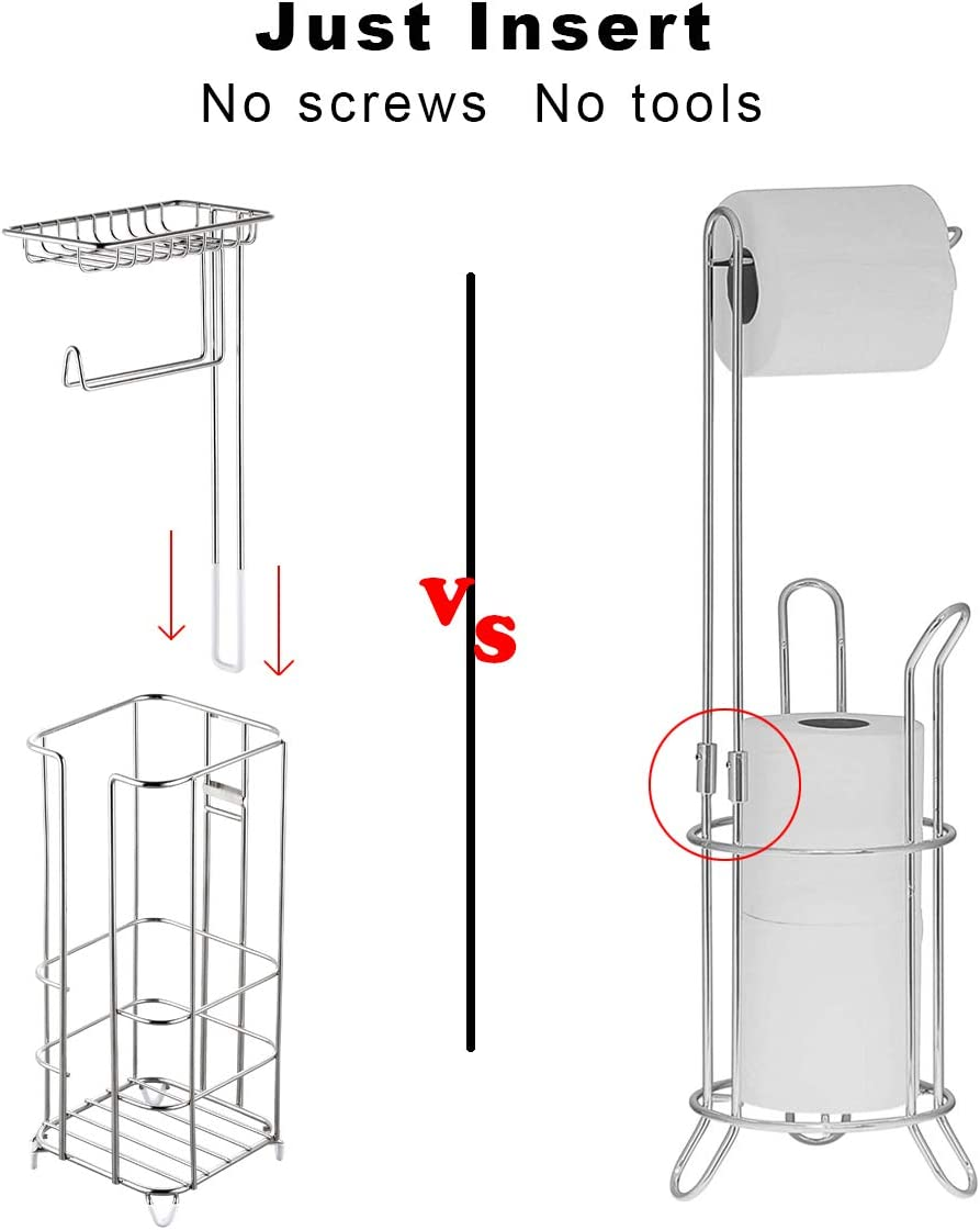 Brown ZCCZ Toilet Paper Holder Stand Wallet and More Free Standing Bathroom Toilet Tissue Holder Stand Toilet Roll Holder Stand Toilet Paper Storage Dispenser with Shelf for Cell Phones Wipe