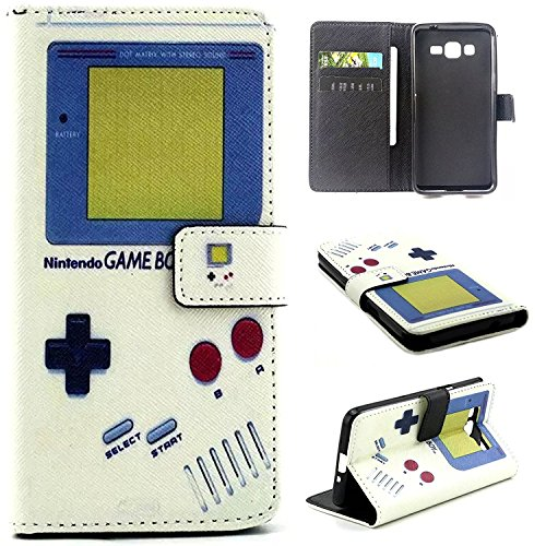 J7 Case, J710 Case, Galaxy J710 Wallet Leather Case,Maoerdo [Retro Gameboy] Built-in Card Slots Flip Kickstand Feature Magnetic Premium Leather Wallet Case Cover for Samsung Galaxy J7 (Characters To Be For Halloween)