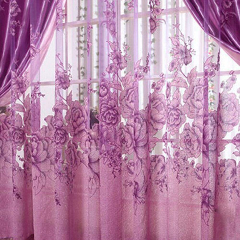 Floral Pattern Perforated Drape Grommet Tulle Window Screening Sheer Curtain Voile Wall Decoration Accessory for Home Bedroom Wedding Hotel Party Restaurant 98.43 x 39.37inches Purple Elisona