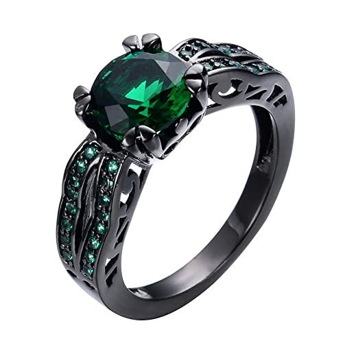 JunXin Round Shape 8MM Solitaire Emerald Green Gemstone Promise Ring Black  Gold Plated Size6/7/8/9/10