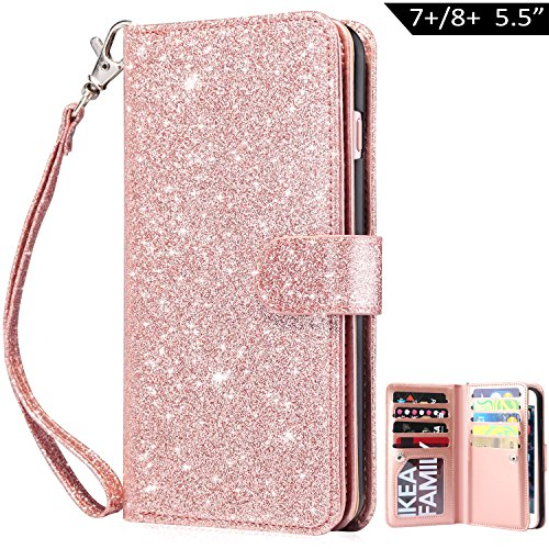 Dailylux iPhone 8 Plus Case,iPhone 7 Plus Case,iPhone 8 Plus Wallet Case PU Leather+TPU Inner Shell Flip Case with 9 Card Slot Luxury Bling Cover for iPhone 8 Plus/7 Plus 5.5inch-Glitter Rose Gold