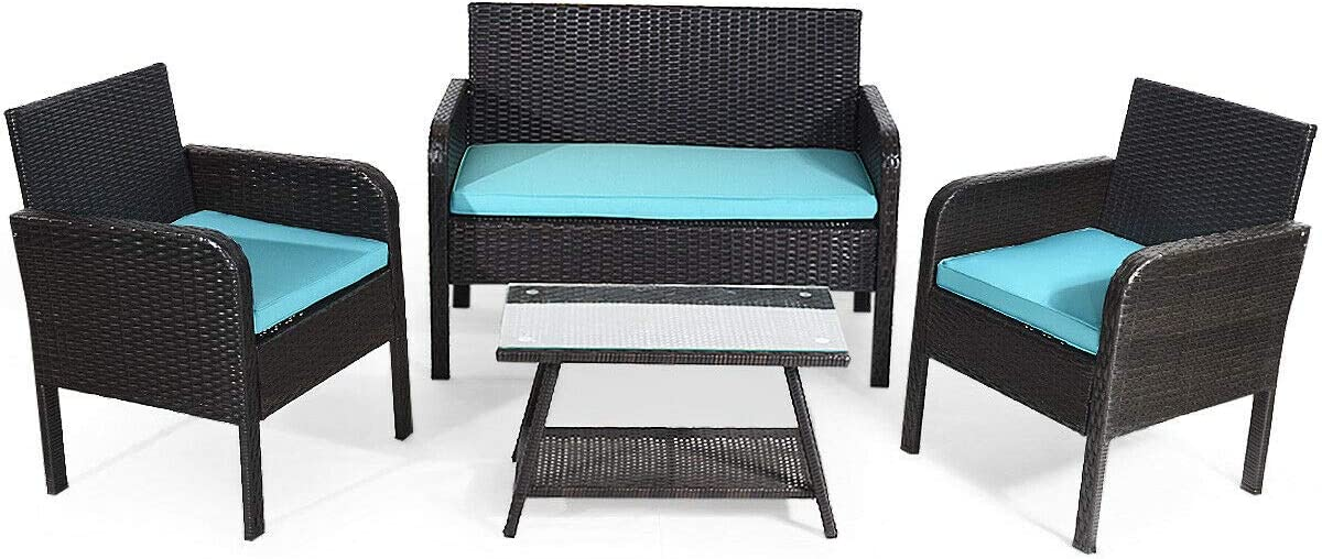 Tangkula 4 Piece Patio Outdoor Conversation Set with Glass Coffee Table, Loveseat 2 Cushioned Chairs Garden Lawn Rattan Wicker Patio Chat Set Outdoor Furniture Set Blue