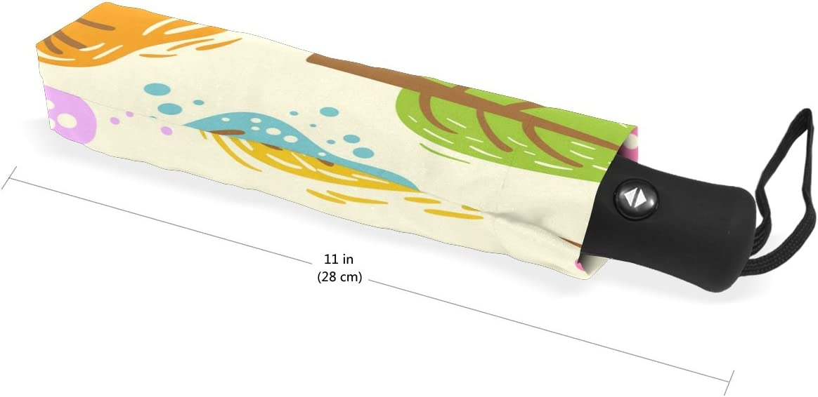 DOENR Compact Travel Umbrella Colorful Tree Sun and Rain Auto Open Close Umbrellas Lightweight Portable Outdoor Folding Umbrella