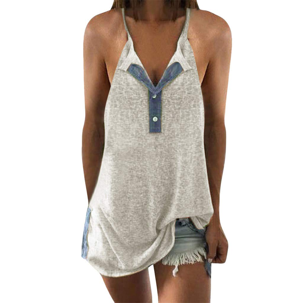 Wave166 Mujer camiseta, Cuello V sin manga camiseta para mujer y ...