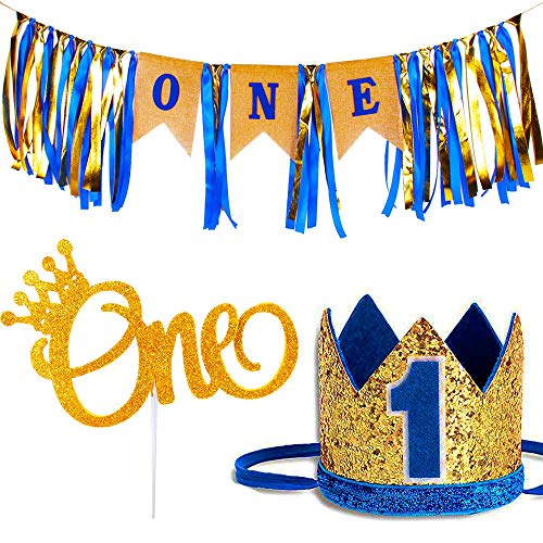 1st Birthday Boy Decorations - Baby Boys Highchair Burlap Decoration Supplies Set, First Royal Blue Prince Crown Hat, ONE Glitter Gold Crown Cake Topper | Little Boss Man Monster Year -