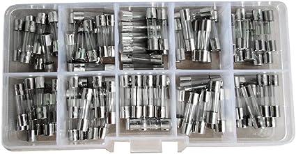 Homyl 5x20mm Glassicherung Feinsicherung 100 Tlg Set Sortiment Aufbewahrungsbox Auto