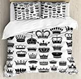 Ambesonne Queen Duvet Cover Set King Size, Big Silhouette Crown Set Monarchy Imperial Ruler Icons Antique Ancient Vintage, Decorative 3 Piece Bedding Set with 2 Pillow Shams, Black and White