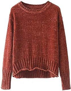 HUAIX Home Camicia Fashion O-Collo Maniche Lunghe Pullover Allentato Anteriore Corto Long Knit Top Pull Donna Rosso (Color : Red, Size : Medium)