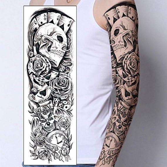 1 Unid Tatuajes Temporales Pegatina Cráneo Payaso Reloj De Póker ...