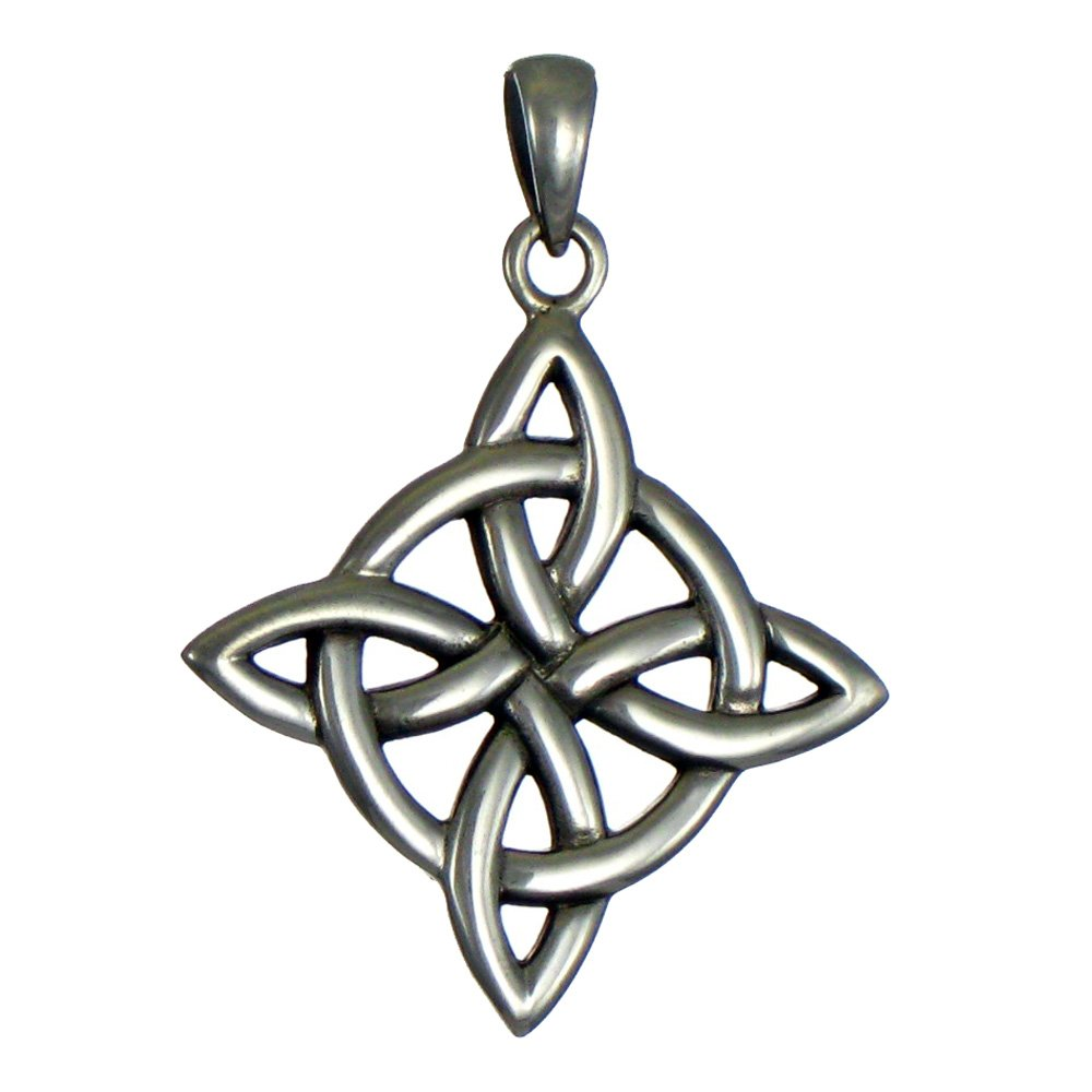 Sterling Silver Celtic Quaternary Witches Knot Pendant for men or women Jewelry PS-TP-554