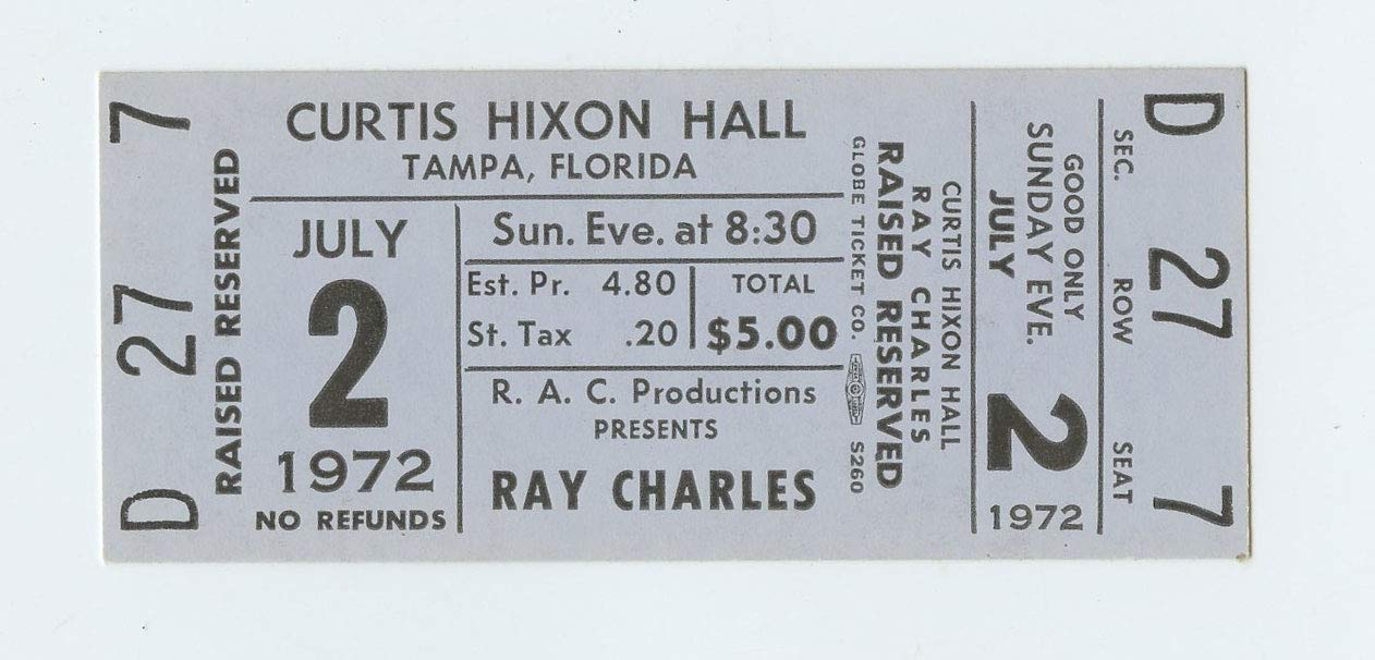 Ray Charles Ticket 1972 Jul 2 Tampa FL Unused