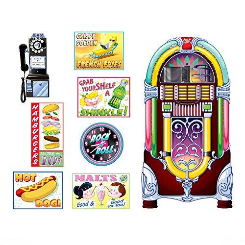 1950s Sock Hop Grease Party Decoration SODA SHOP Diner SIGNS & JUKEBOX PROPS ()