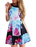 FANCYINN Women Sexy Halter Neck Floral Print Backless Beach Skater Mini Dress
