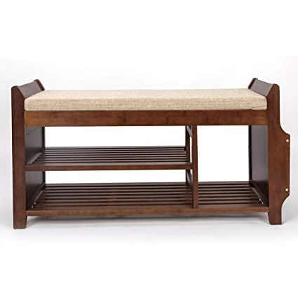 Amazoncom Shoe Rack Bench Bamboo Removable Cushion Storage Shelf