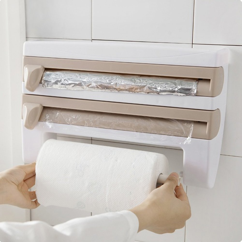 Amazon.com: Kitchen Paper Roll Dispenser, Multifunctional Cling Film, Foil & Rack Sauce Bottle Storage - Paper Towel Holder Kitchen Accessories(5.35