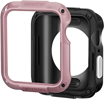 Tough Armor - Rubber Case with prominent hard plastic frame Durable 3-in-1 Clear Screen Protector for Apple iWatch 3rd Generation 42mm