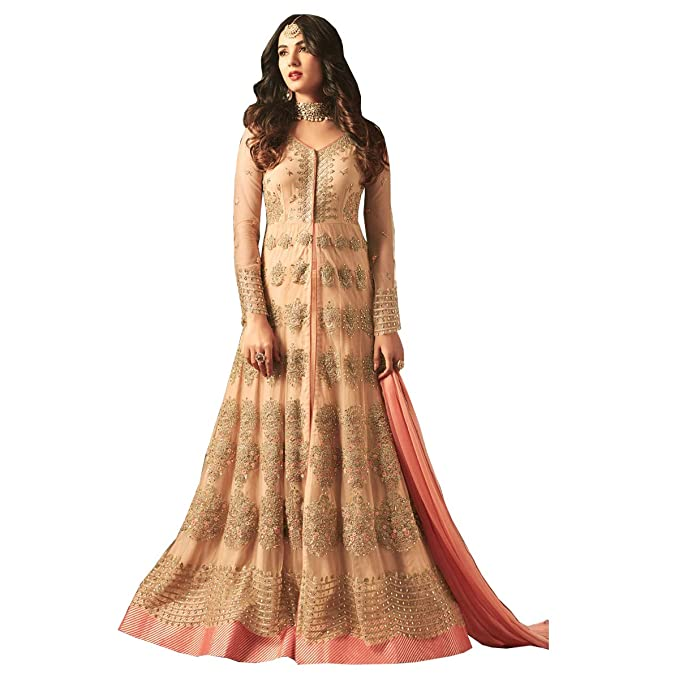 750ca96bb2ab Likeadiva Women's Net Semi-Stitched Floral Embroidery Layered Look Front-Slit  Anarkali Suit Material (Peach, Free Size): Amazon.in: Clothing & Accessories