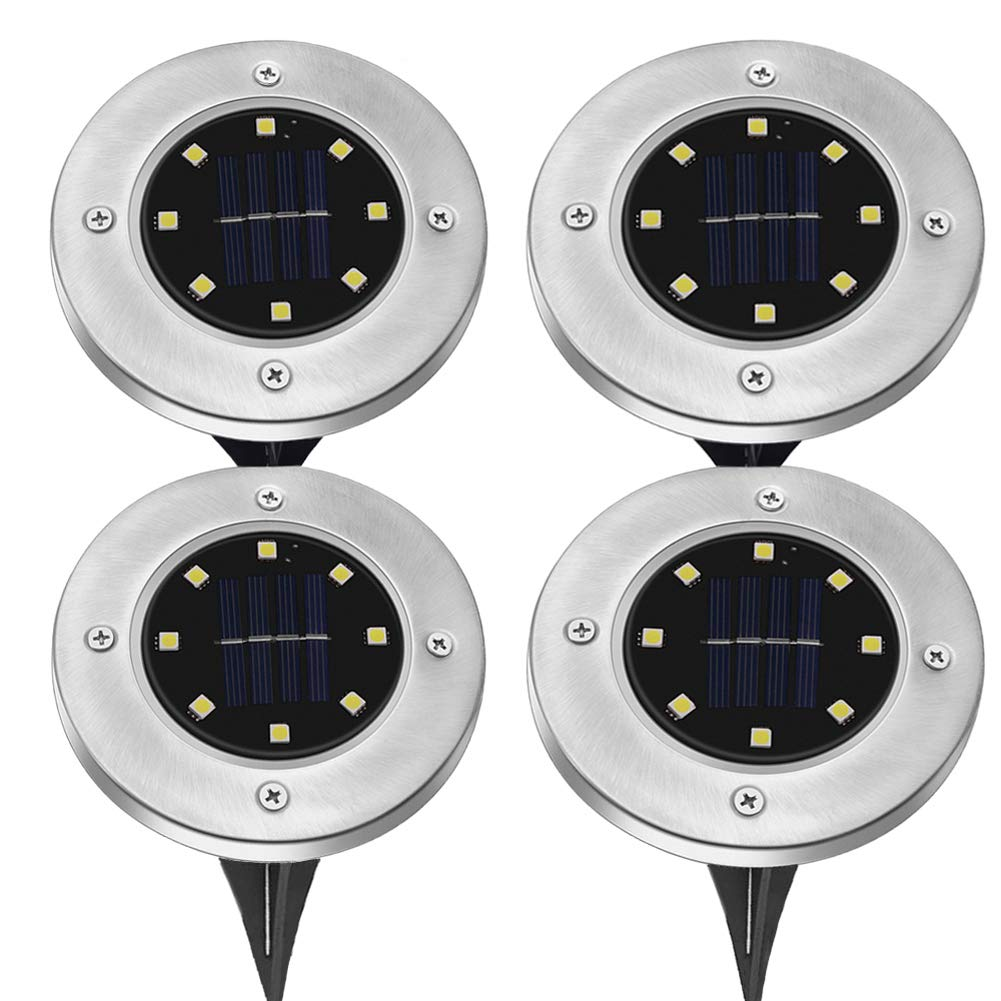 MOGOCO Solar Powered Ground Light with 8 LEDs,Outdoor Waterproof Disk Lights Path Lights Garden Landscape Lights for Yard Driveway Lawn Walkway (White)
