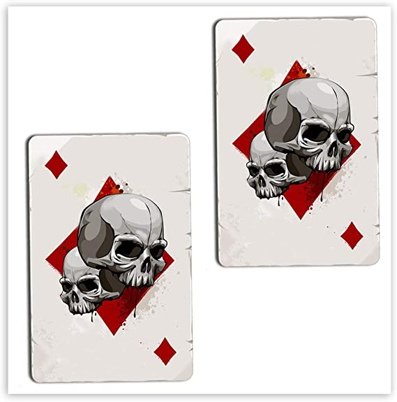 Skinoeu 2 Stück Vinyl Aufkleber Autoaufkleber Spielkarten Karo Karten Poker Skull Schädel Totenkopf Funny Stickers Auto